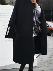 Lapel  Plain  Long Sleeve Coats