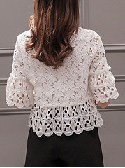 Spring Summer  Lace  Women  Round Neck  Hollow Out Plain  Half Sleeve Blouses