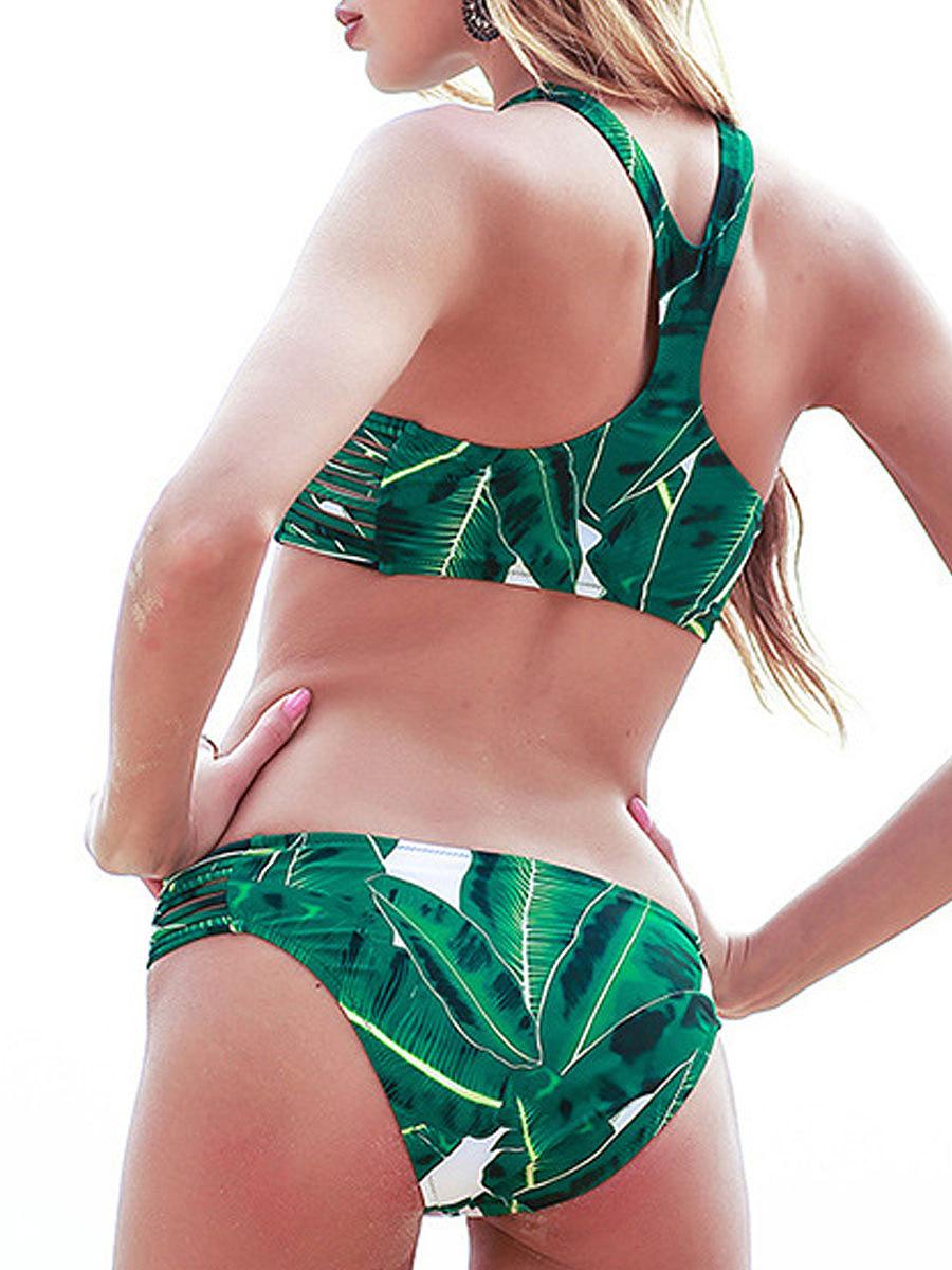Green Leaf Backless  Abstract Print  Mid-Rise Bikini