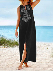 Split Neck  Printed Maxi Dress