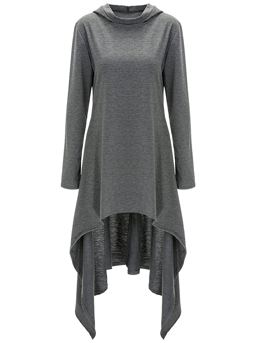 Casual Hooded Asymmetric Hem Solid Shift Dress