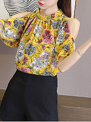 Spring Summer  Chiffon  Women  Open Shoulder  Flounce  Floral Printed  Short Sleeve Blouses