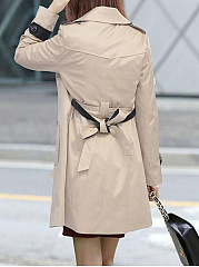 Fold-Over Collar  Double Breasted  Plain  Long Sleeve Trench Coats