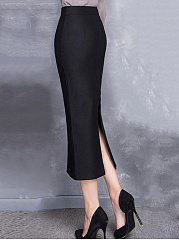 Slit-Plain-Pencil-Maxi-Skirts