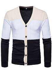 Color Block Single Breasted Men'S Cardigan