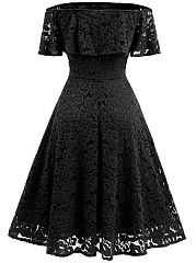 Off Shoulder Flounce Plain Lace Midi Skater Dress