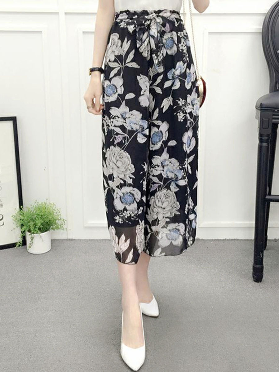 Floral Printed Chiffon Wide-Leg Casual Pant