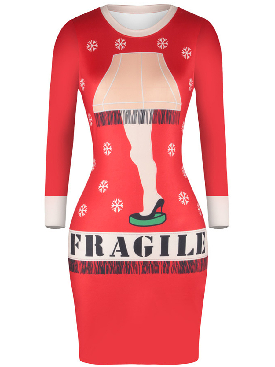 Round Neck  Printed Christmas Bodycon Dress