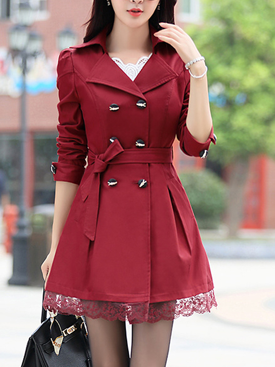 Lapel Double Breasted Plain Trench Coat