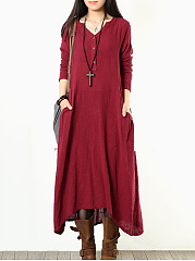Casual Split Neck Pocket Plain Long Dress