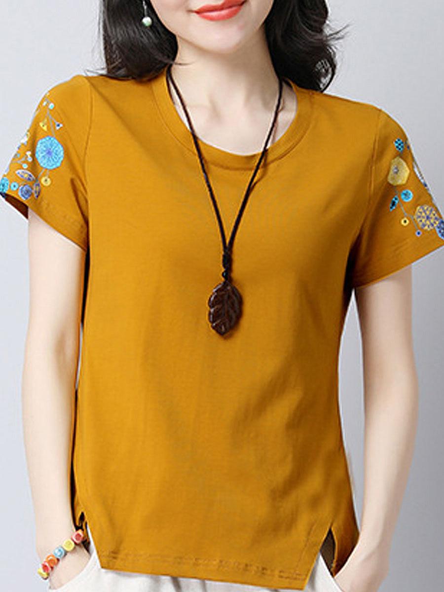 Summer  Polyester  Women  Asymmetric Hem  Floral Printed Short Sleeve T-Shirts