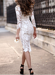 Boat Neck  Plain  Lace Bodycon Dress