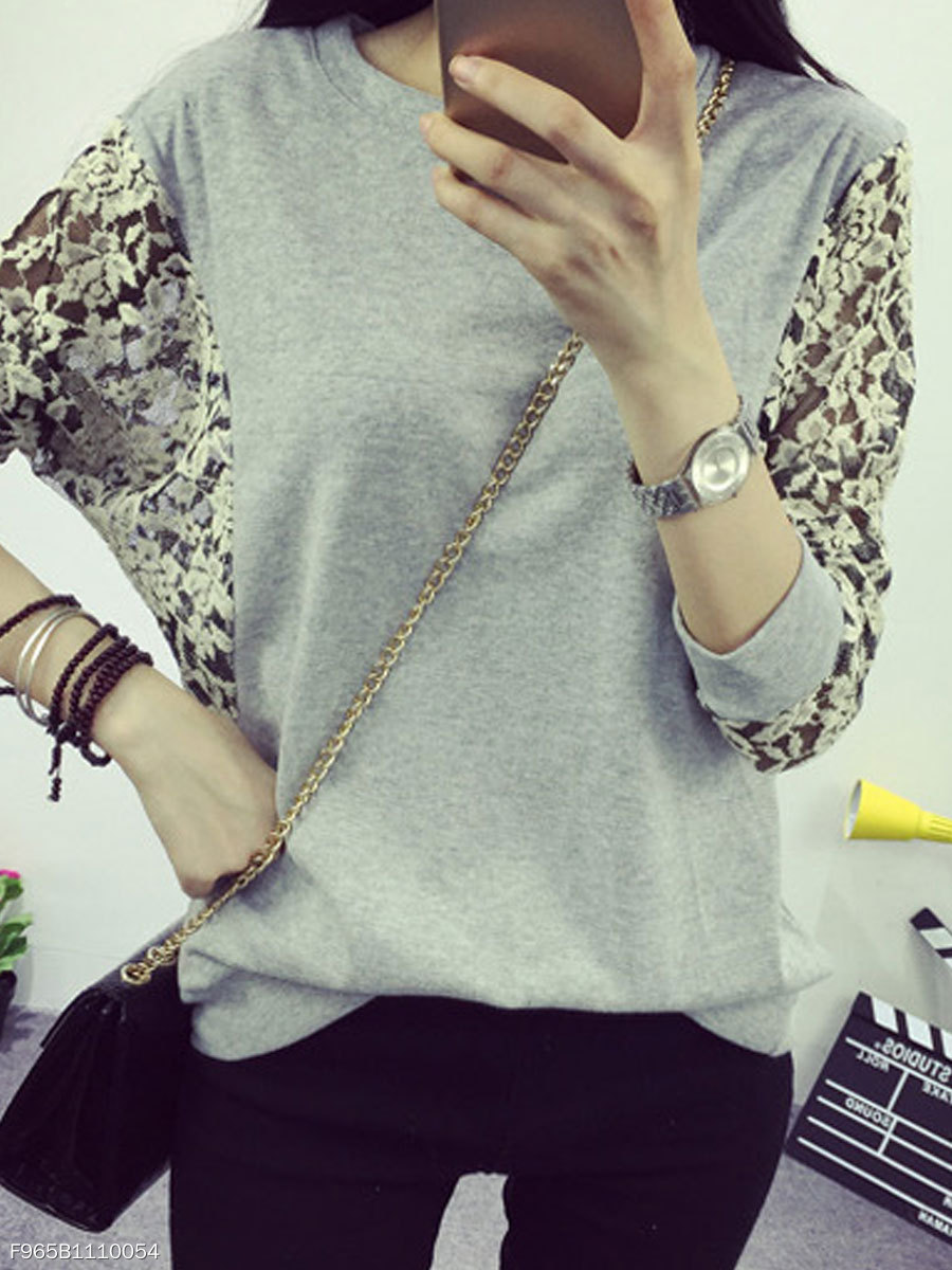 Autumn Spring  Cotton  Women  Round Neck  Decorative Lace Patchwork  Plain Long Sleeve T-Shirts
