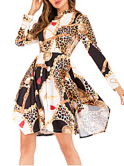 Round Neck  Abstract Print Leopard Skater Dress