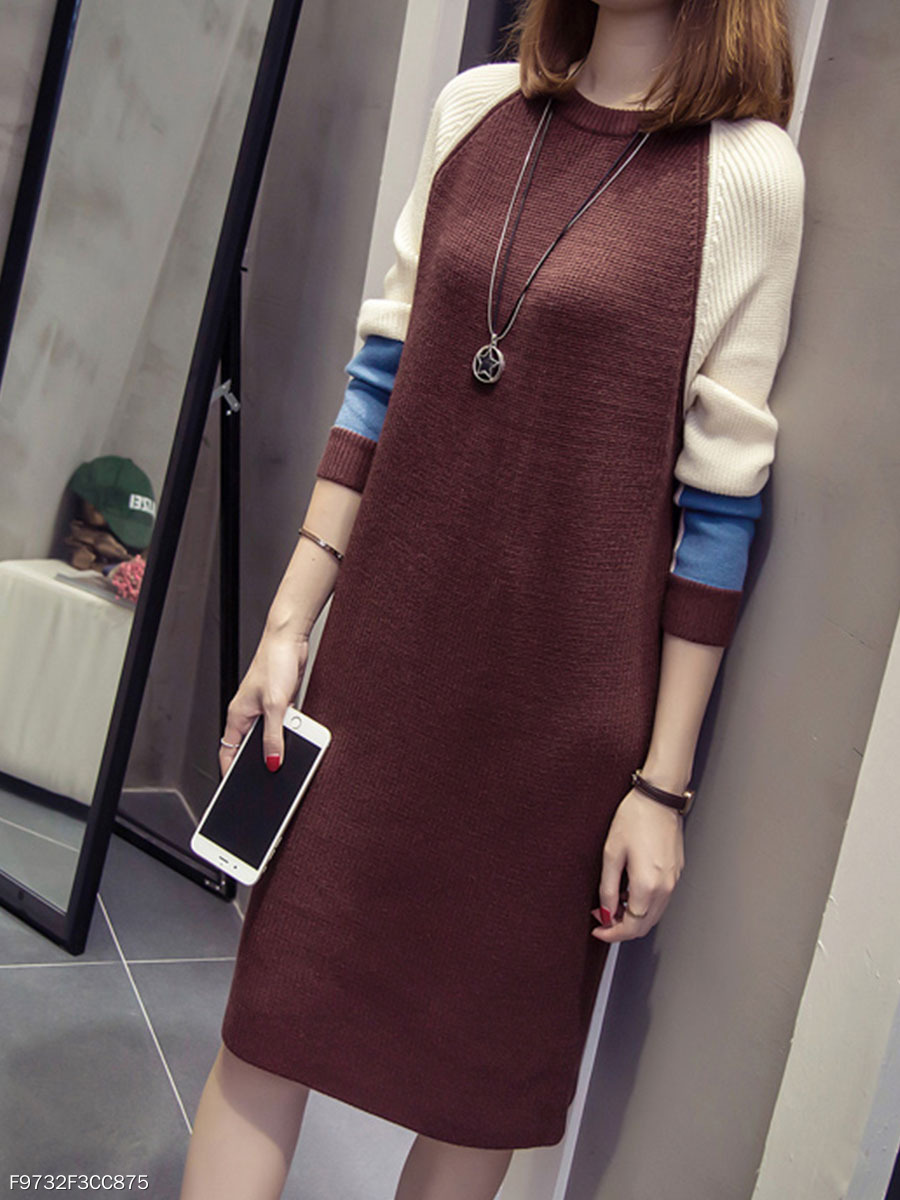 Color Block Round Neck Midi Shift Dress
