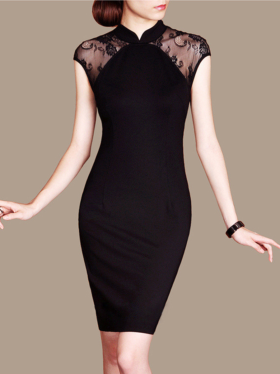 Band Collar  See-Through  Plain Bodycon Dress