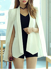 Fold-Over Collar  Asymmetric Hem  Plain  Cape Sleeve Coats