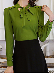 Autumn Spring  Polyester  Women  Tie Collar  Plain  Long Sleeve Blouses