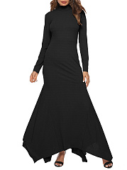 Band Collar  Asymmetric Hem  Plain Maxi Dress