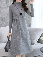 Thick High Neck  Plain Shift Dress