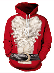 Kangaroo Pocket Christmas Printed Men Hoodie