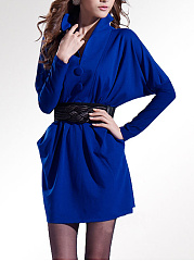 Plain Batwing Sleeve Belt Mini Bodycon Dress