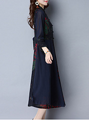 Band Collar  Patchwork Ethnic Printed  Maxi Dress