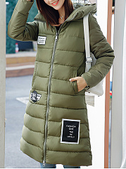 Hooded  Slit Pocket Zips  Quilted  Long Sleeve Coats