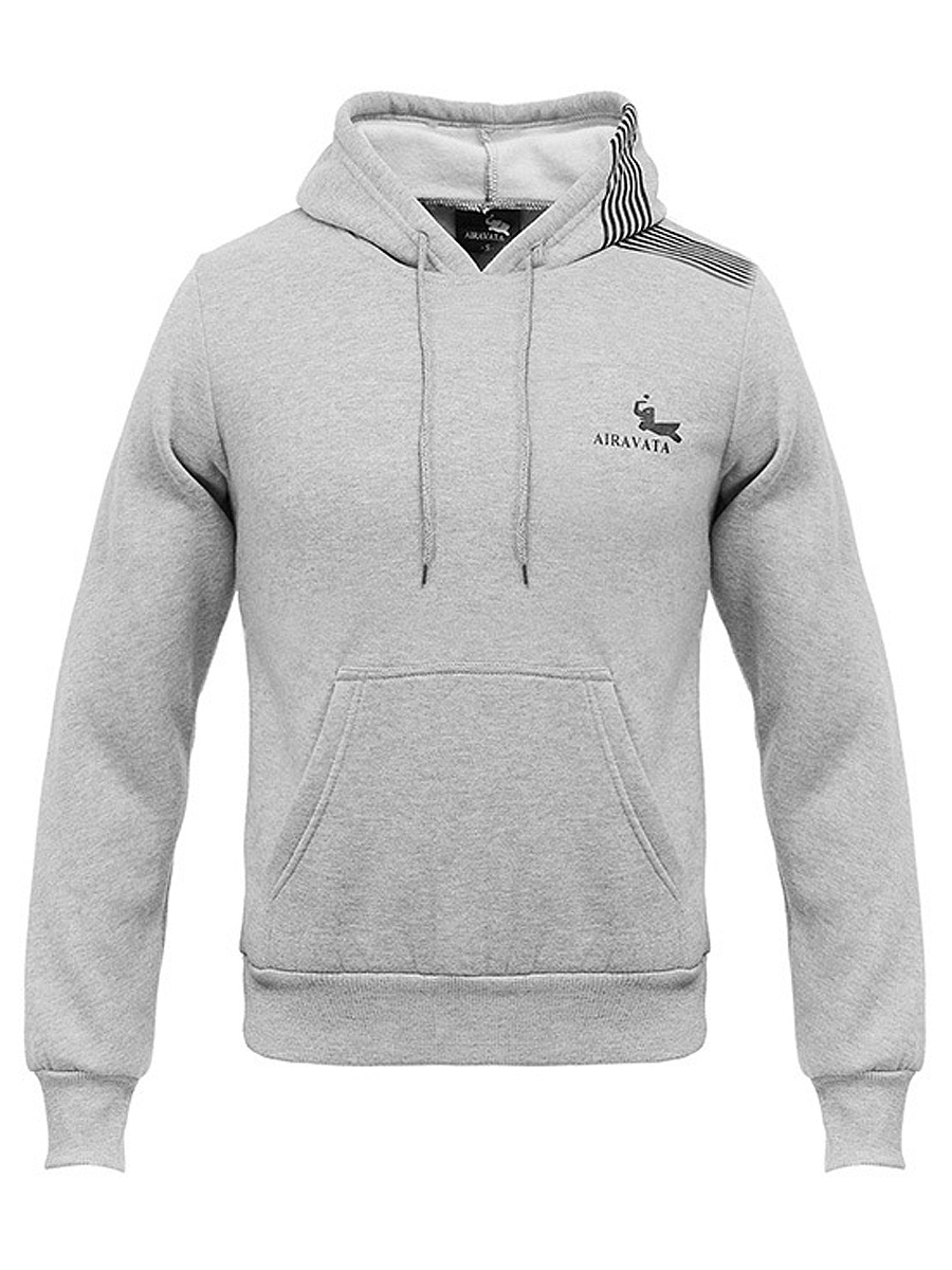 Drawstring Kangaroo Pocket  Striped Men Hoodie