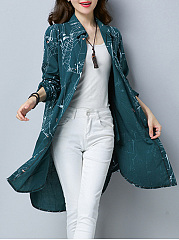Single Breasted  Abstract Print  Long Sleeve Trench Coats