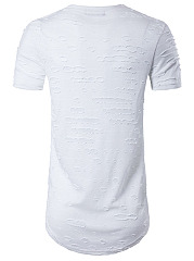 Men Distressed Curved Hem Round Neck T-Shirt