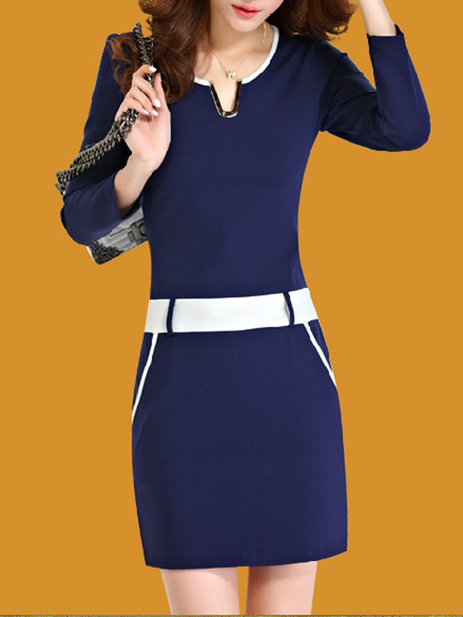 Split Neck Contrast Trim Bodycon Dress