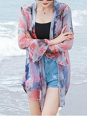 See-Through Floral Bell Sleeve Kimono