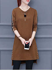 Round Neck  Beading Patchwork  Plain Pullover