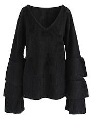 V-Neck-Plain-Rib-Knit-Bell-Sleeve-Sweater