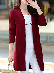 Round Neck  Plain Knit Cardigans