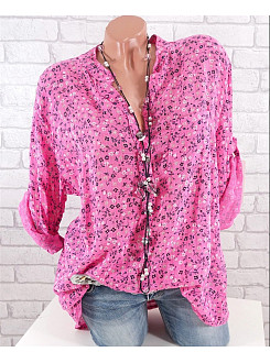 Autumn Spring  Women  V-Neck  Floral Printed  Long Sleeve Blouses
