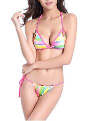 Halter-Contrast-Trim-Color-Block-Printed-Bikini