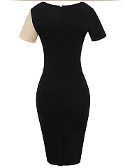 Modern Color Block Round Neck Slit Bodycon Dress
