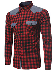 Turn Down Collar  Flap Pocket  Color Block Plaid  Cuffed Sleeve  Long Sleeve Long Sleeves