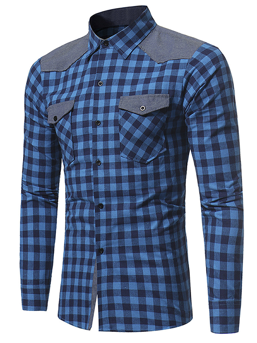 Flap Pocket Color Block Plaid Men Shirts