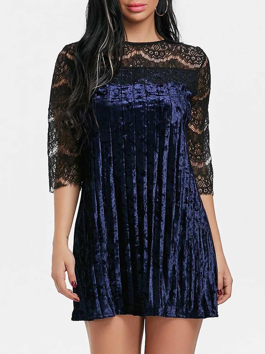 Round Neck  Decorative Lace Patchwork  Color Block Shift Dress