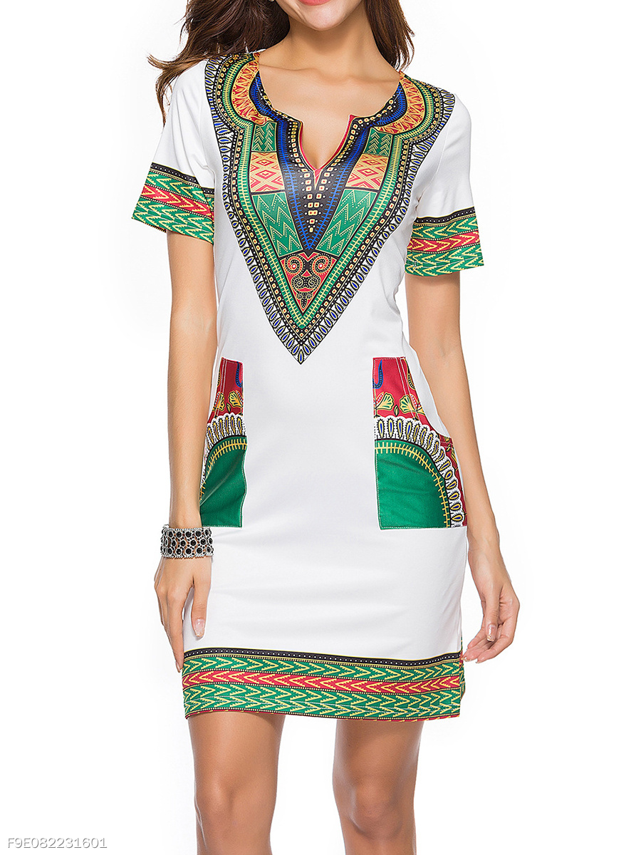Split Neck Tribal Printed Patch Pocket Bodycon Dress