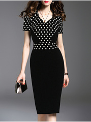 V-Neck  Patchwork  Colouring Polka Dot Bodycon Dress