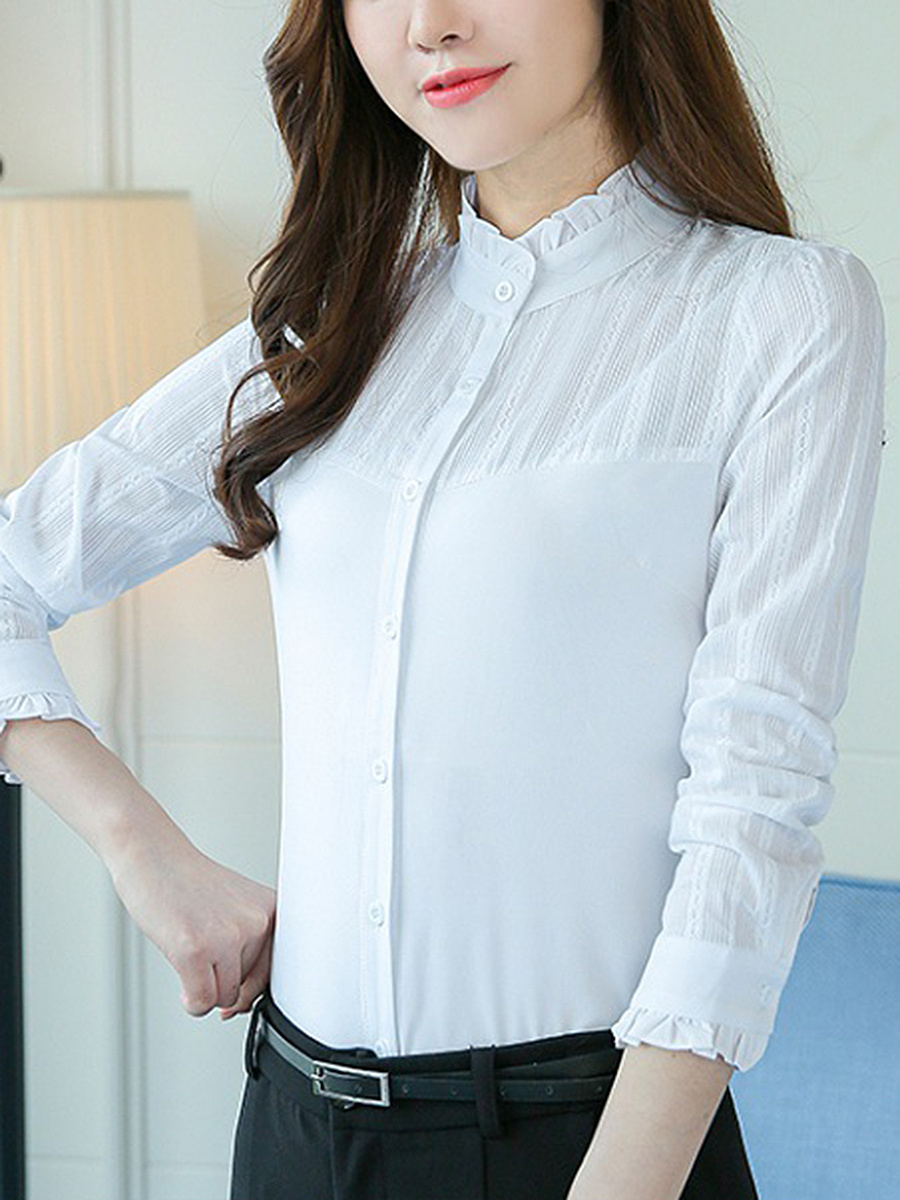 Band Collar  Plain Long Sleeve Blouse