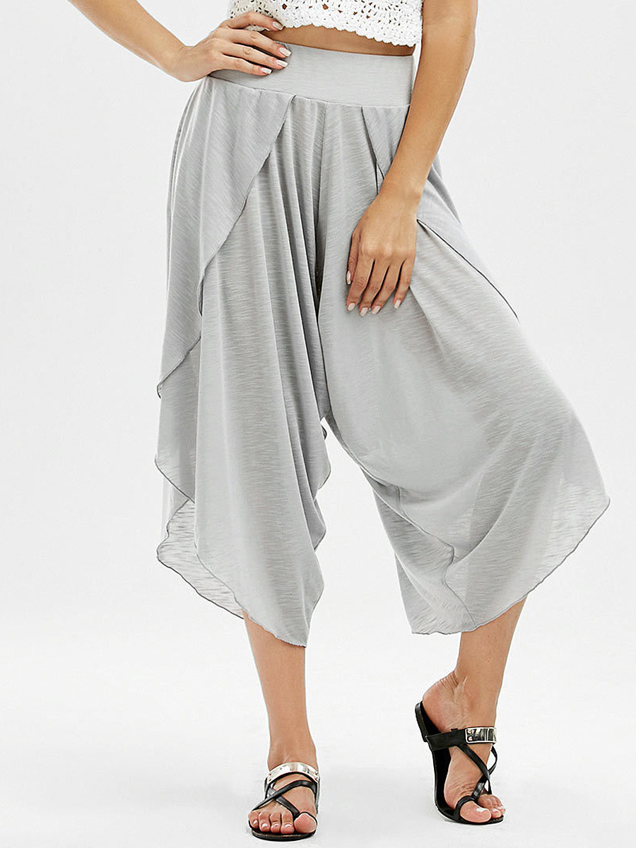 Solid Slit Cropped Wide-Leg Casual Pants
