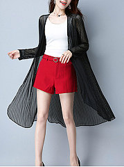See-Through  Plain  Long Sleeve Cardigans