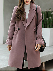 Lapel Pocket  Plain Longline Woolen Coat