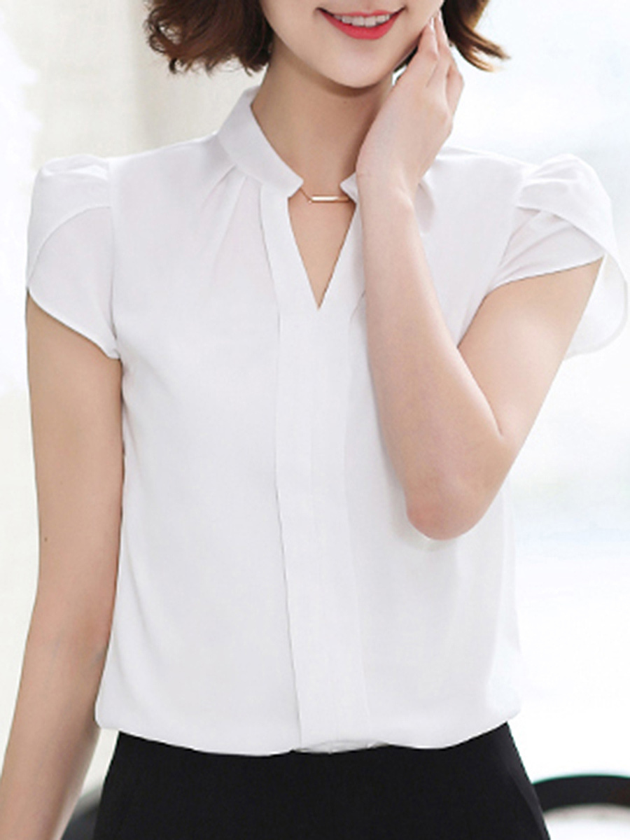 Split Neck Plain Chiffon Petal Sleeve T-Shirt