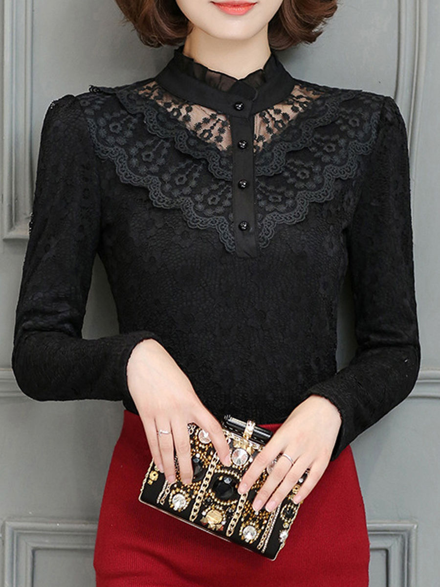 hollow out plain date autumn spring blouses Band Collar Lace Hollow Out Plain Blouse